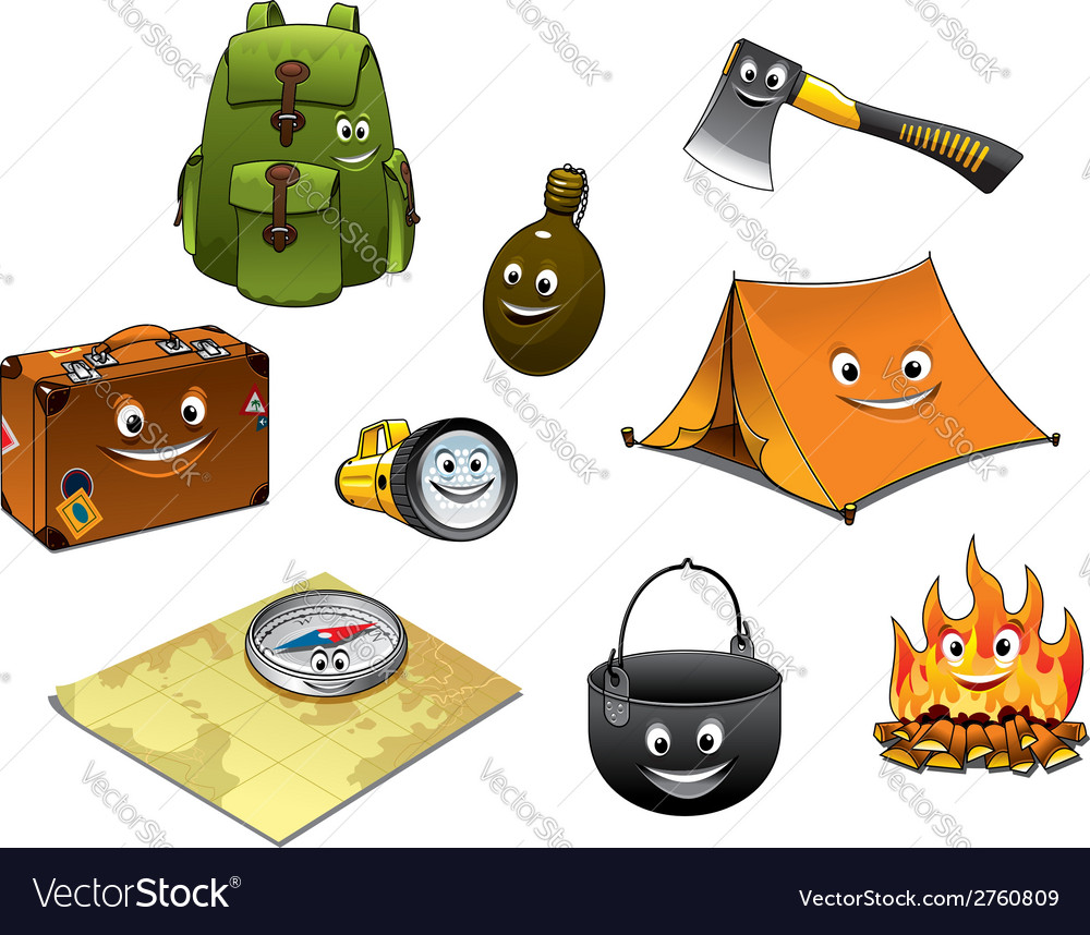 Cartoon camping and travel icons set vector | Price: 1 Credit (USD $1)