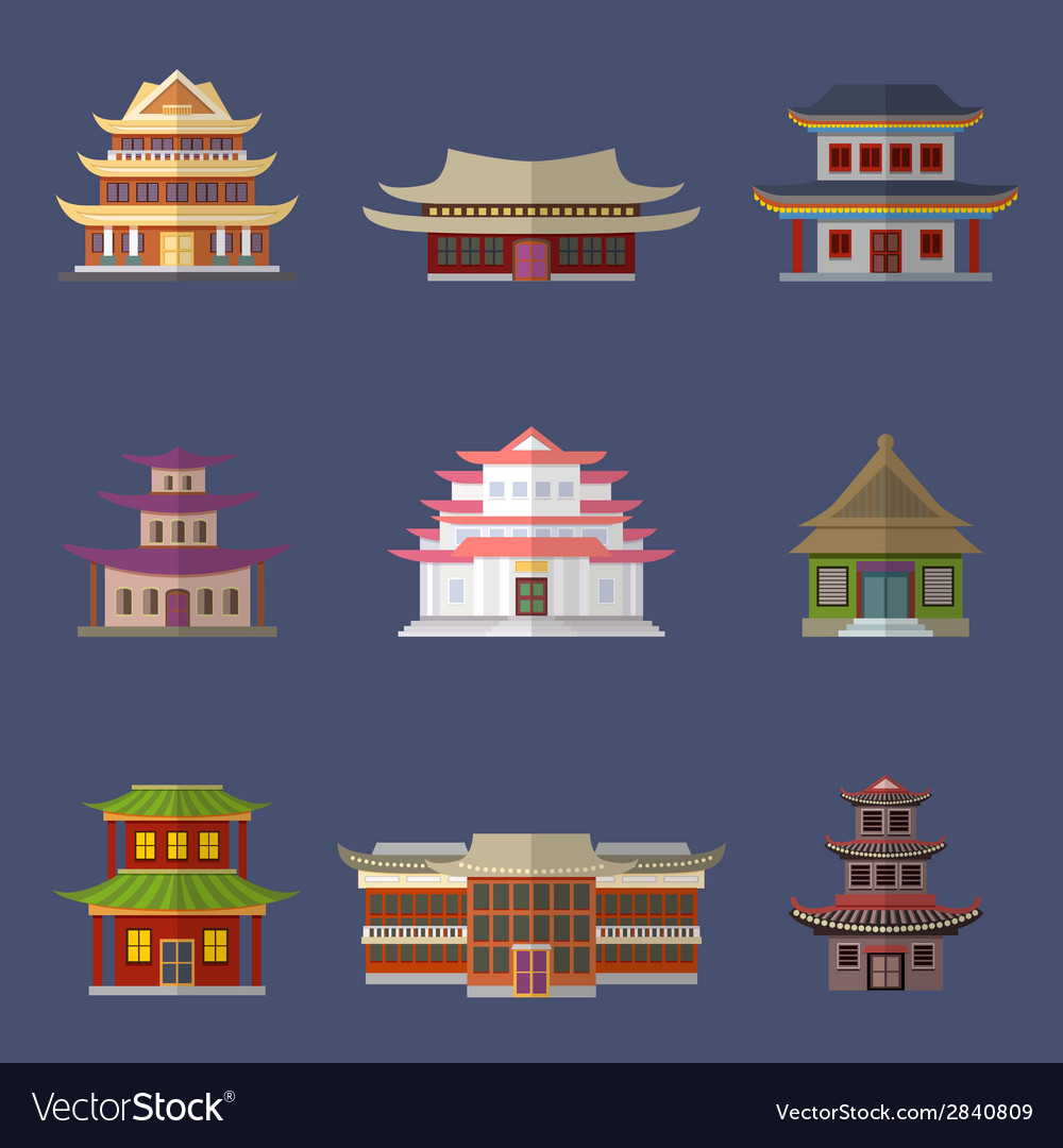 Chinese house icons vector | Price: 1 Credit (USD $1)