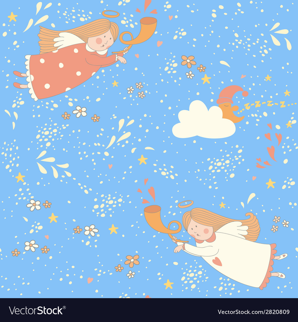 Christmas angels seamless pattern vector | Price: 1 Credit (USD $1)