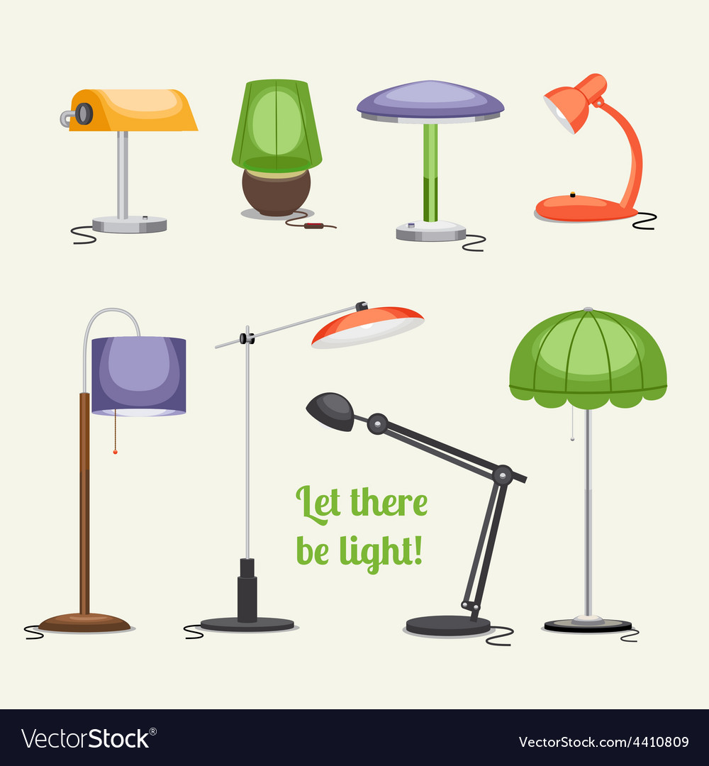 Furniture floor lamp and table lamps vector | Price: 1 Credit (USD $1)