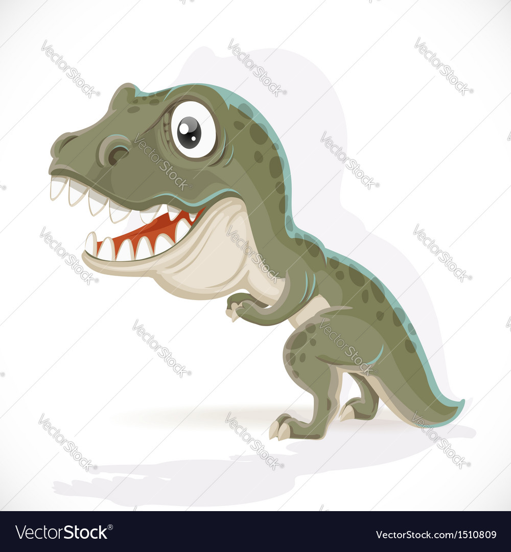 Little tyrannosaurus isolated on white background vector | Price: 1 Credit (USD $1)