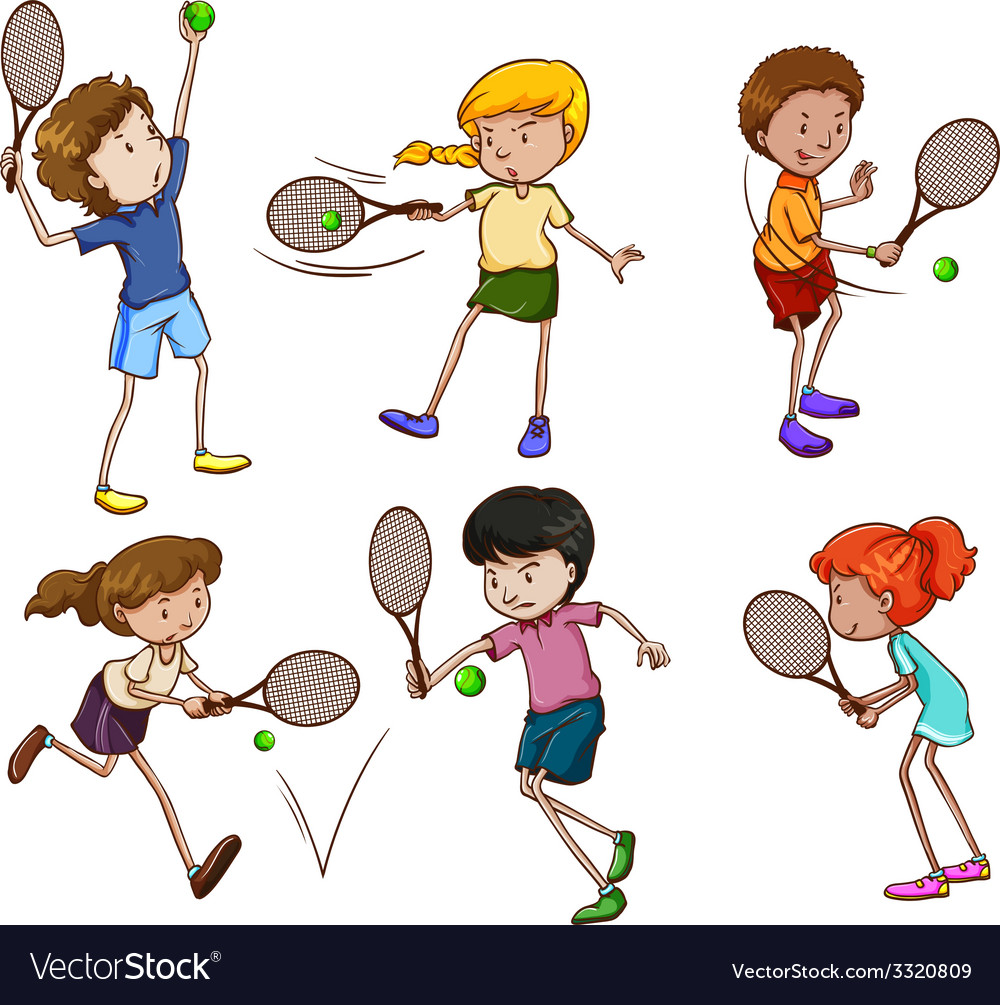 Male and female tennis players vector | Price: 3 Credit (USD $3)