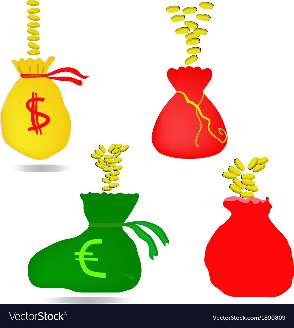 Money bag with euro and dollar sign vector | Price: 1 Credit (USD $1)