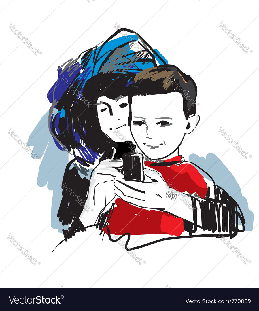 Mother and son vector | Price: 1 Credit (USD $1)