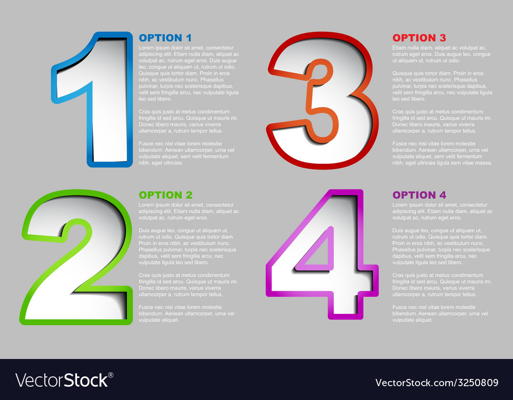 One two three four - progress background vector | Price: 1 Credit (USD $1)