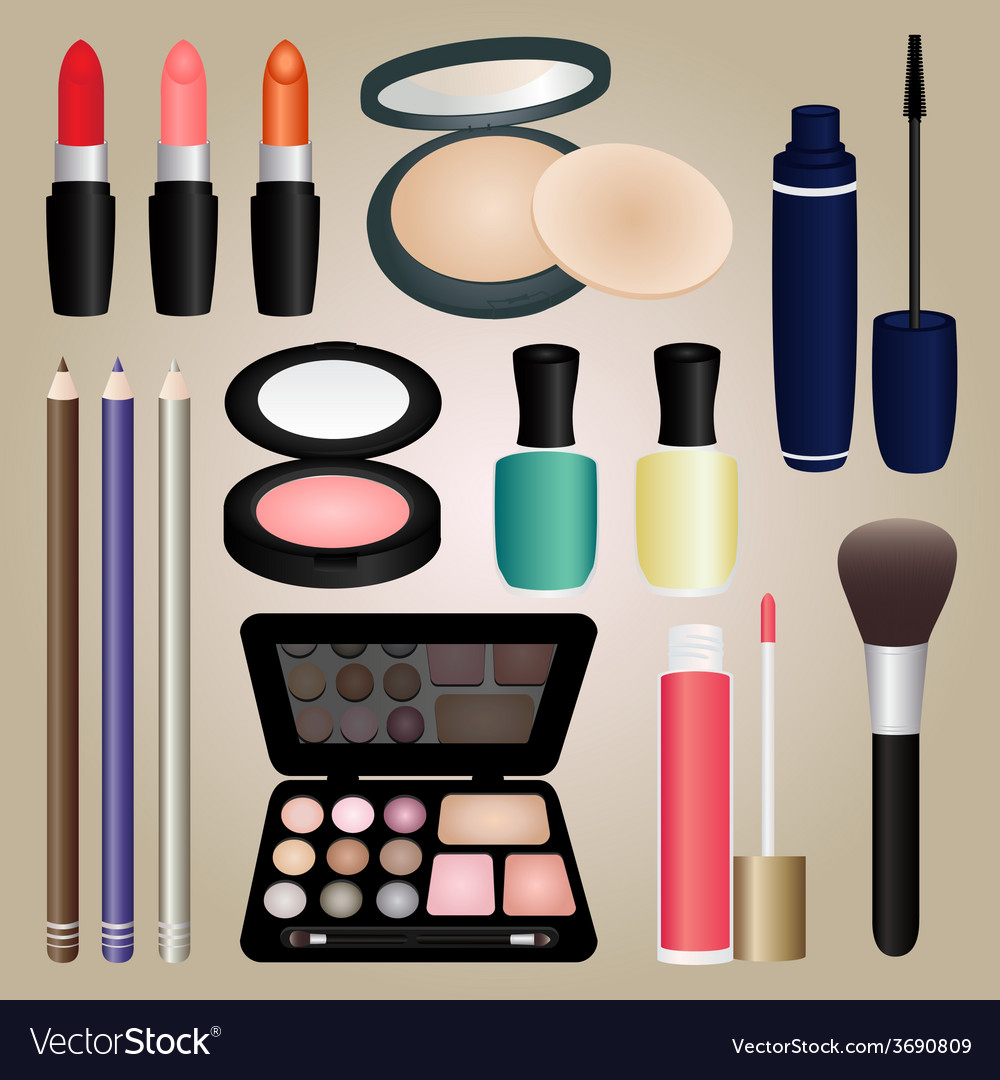 Set of cosmetics and make up brush vector | Price: 1 Credit (USD $1)