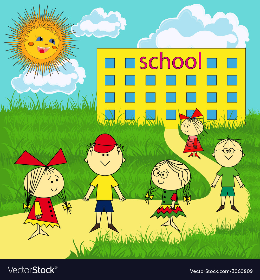 Small group of children near the school vector | Price: 1 Credit (USD $1)