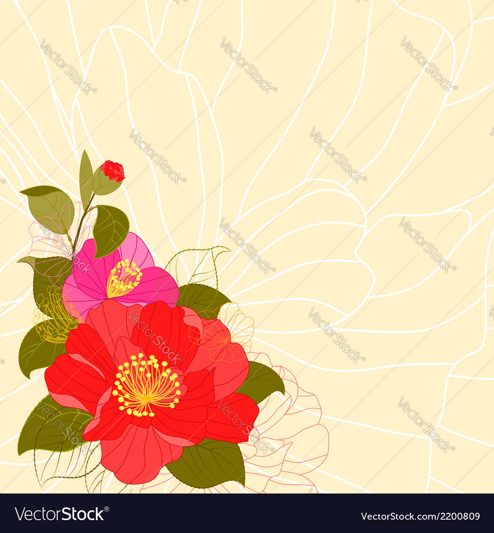 Springtime colorful flower greeting card vector | Price: 1 Credit (USD $1)