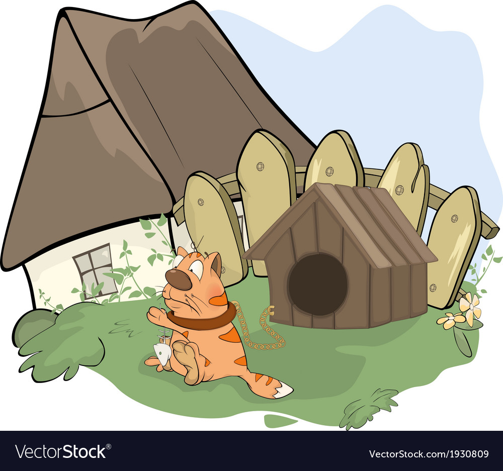 Tabby cat and a doghouse cartoon vector | Price: 1 Credit (USD $1)