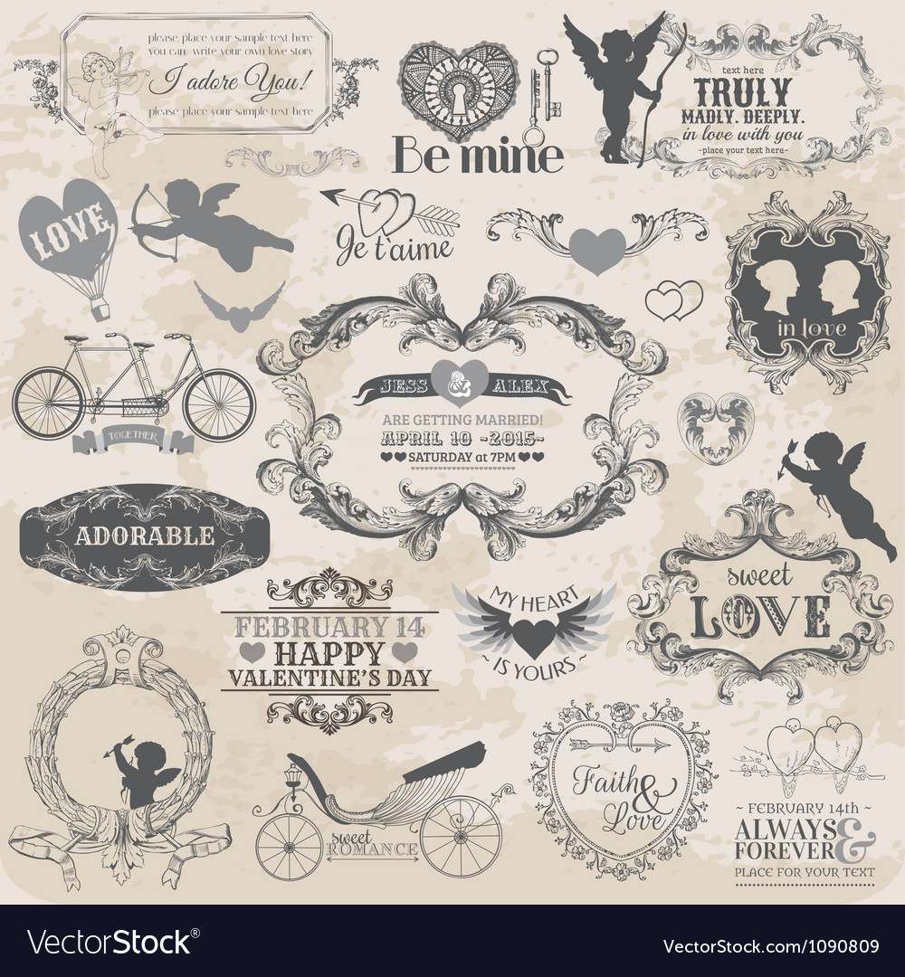 Valentines day vintage set vector | Price: 3 Credit (USD $3)