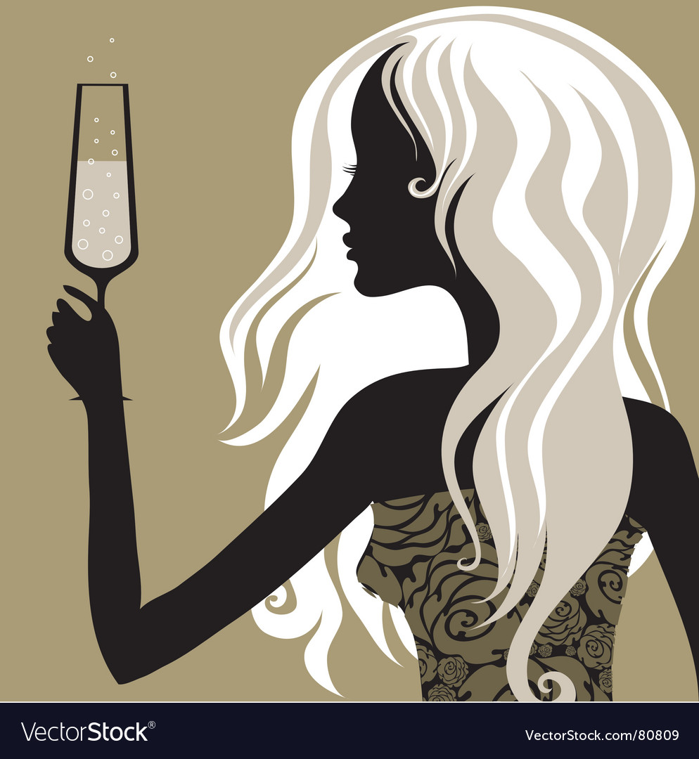 Vintage woman with glass of champagne vector | Price: 1 Credit (USD $1)
