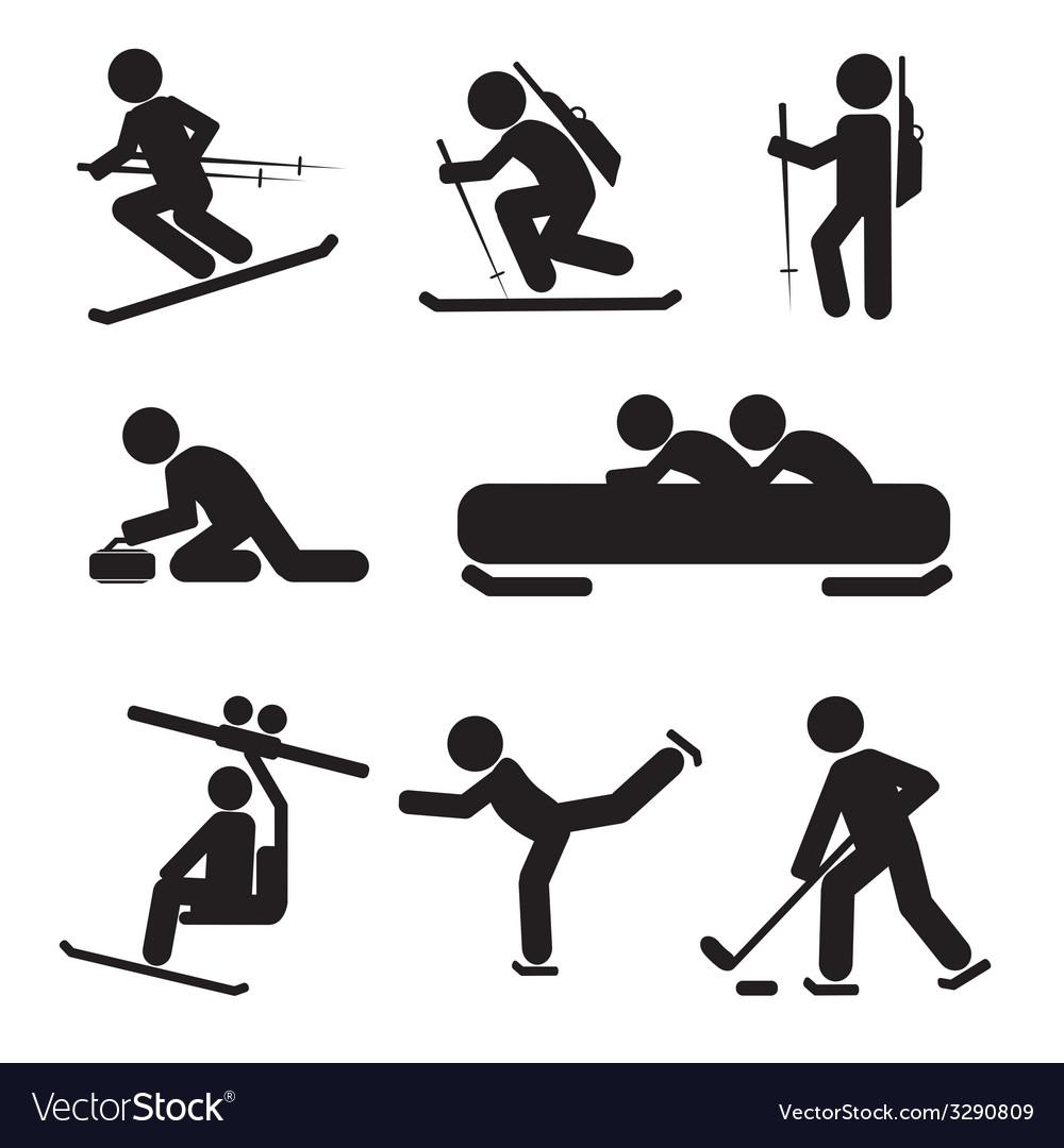 Winter sport icon set vector | Price: 1 Credit (USD $1)