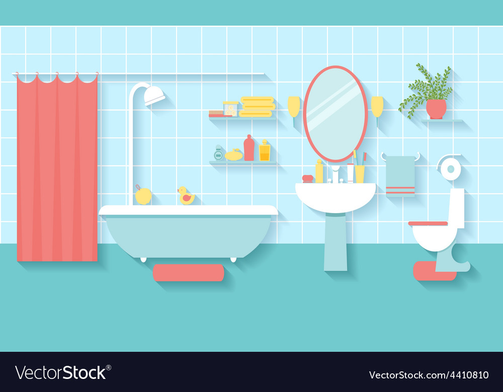 Bathroom interior in flat style vector | Price: 1 Credit (USD $1)