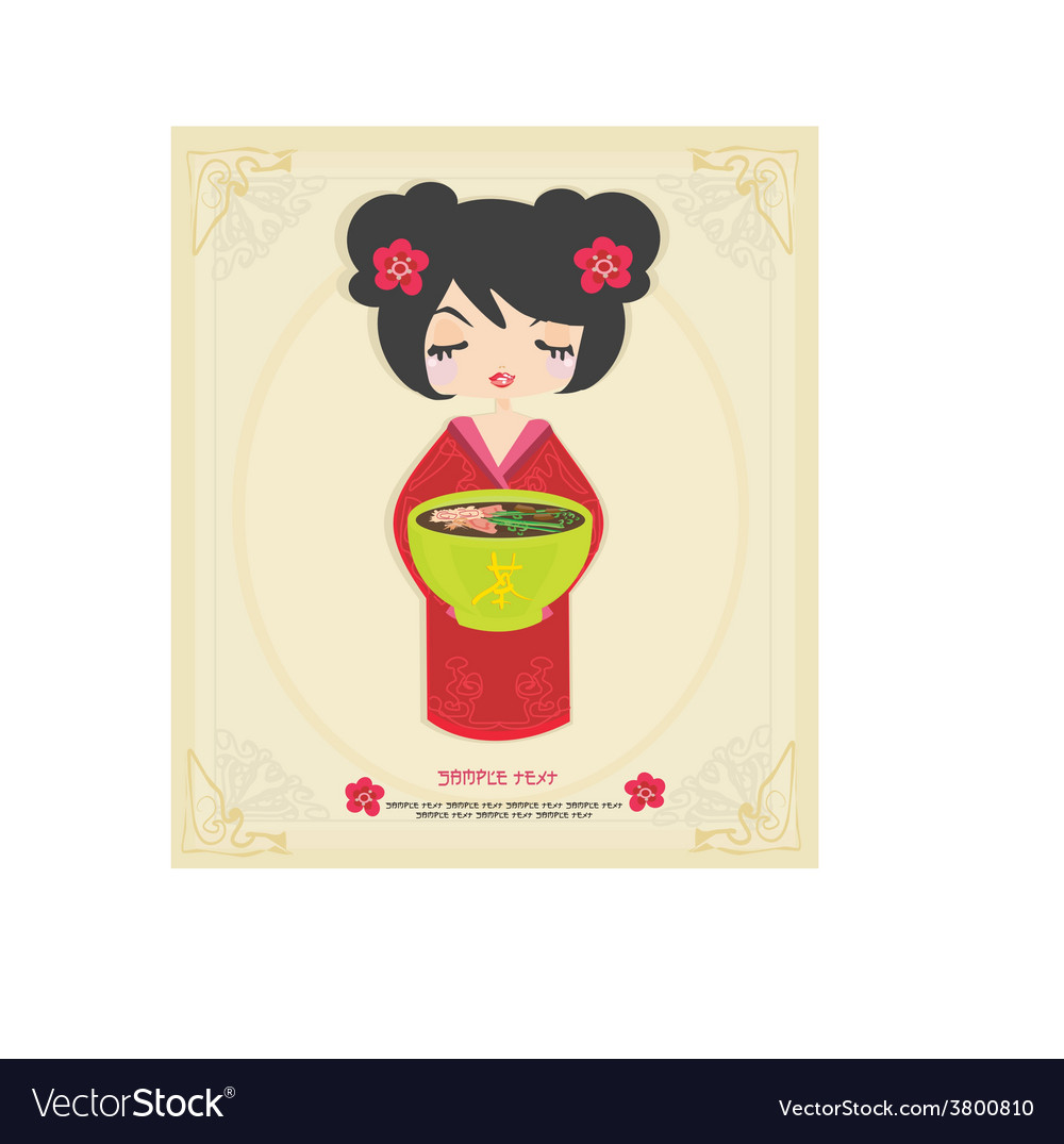Beautiful asian little girl enjoy japanese food - vector | Price: 1 Credit (USD $1)