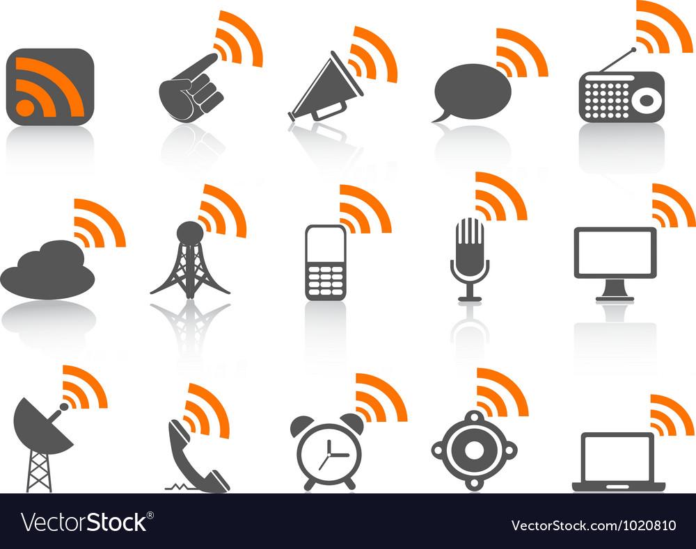 Black communication icon with orange rss symbol vector | Price: 1 Credit (USD $1)