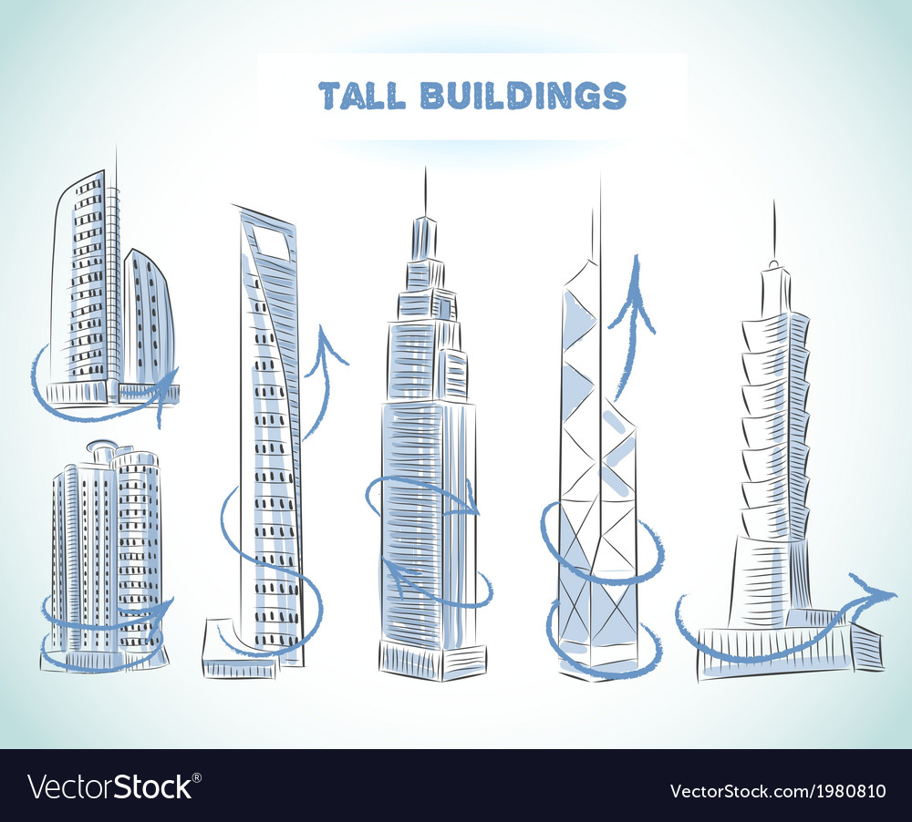 Buildings icons set of modern skyscrapers vector | Price: 1 Credit (USD $1)