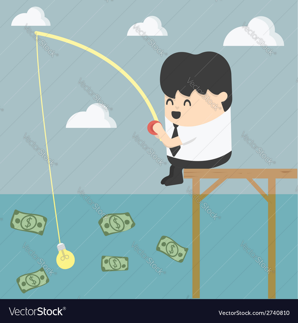Businessman fishing money vector | Price: 1 Credit (USD $1)