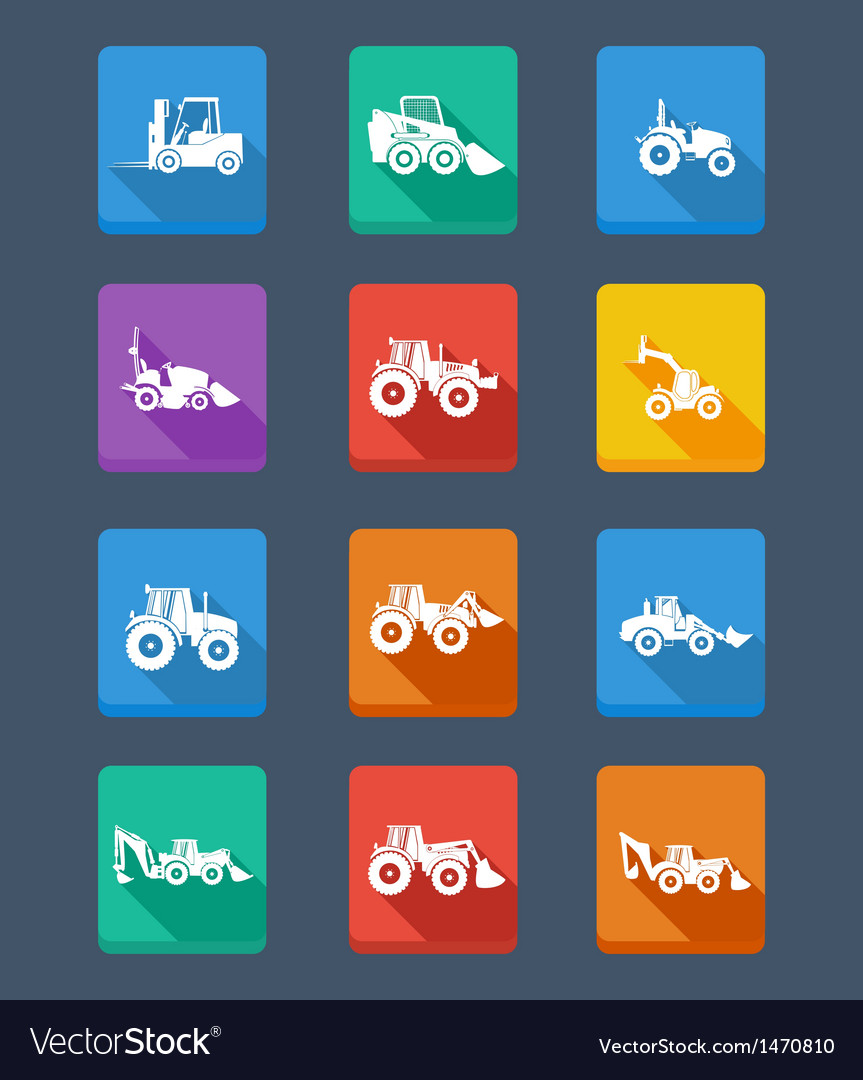 Collection tractor and silhouettes icons vector | Price: 1 Credit (USD $1)