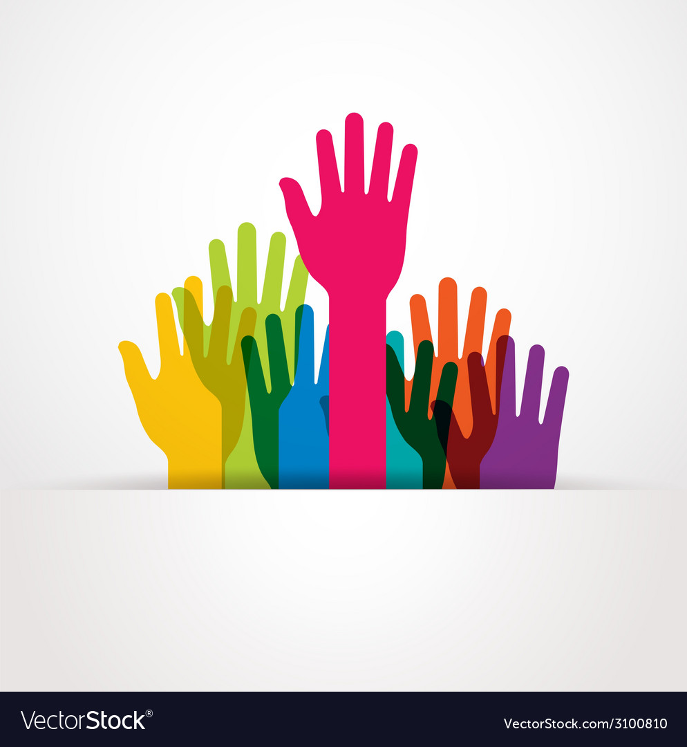 Colored raised hands presentation vector | Price: 1 Credit (USD $1)