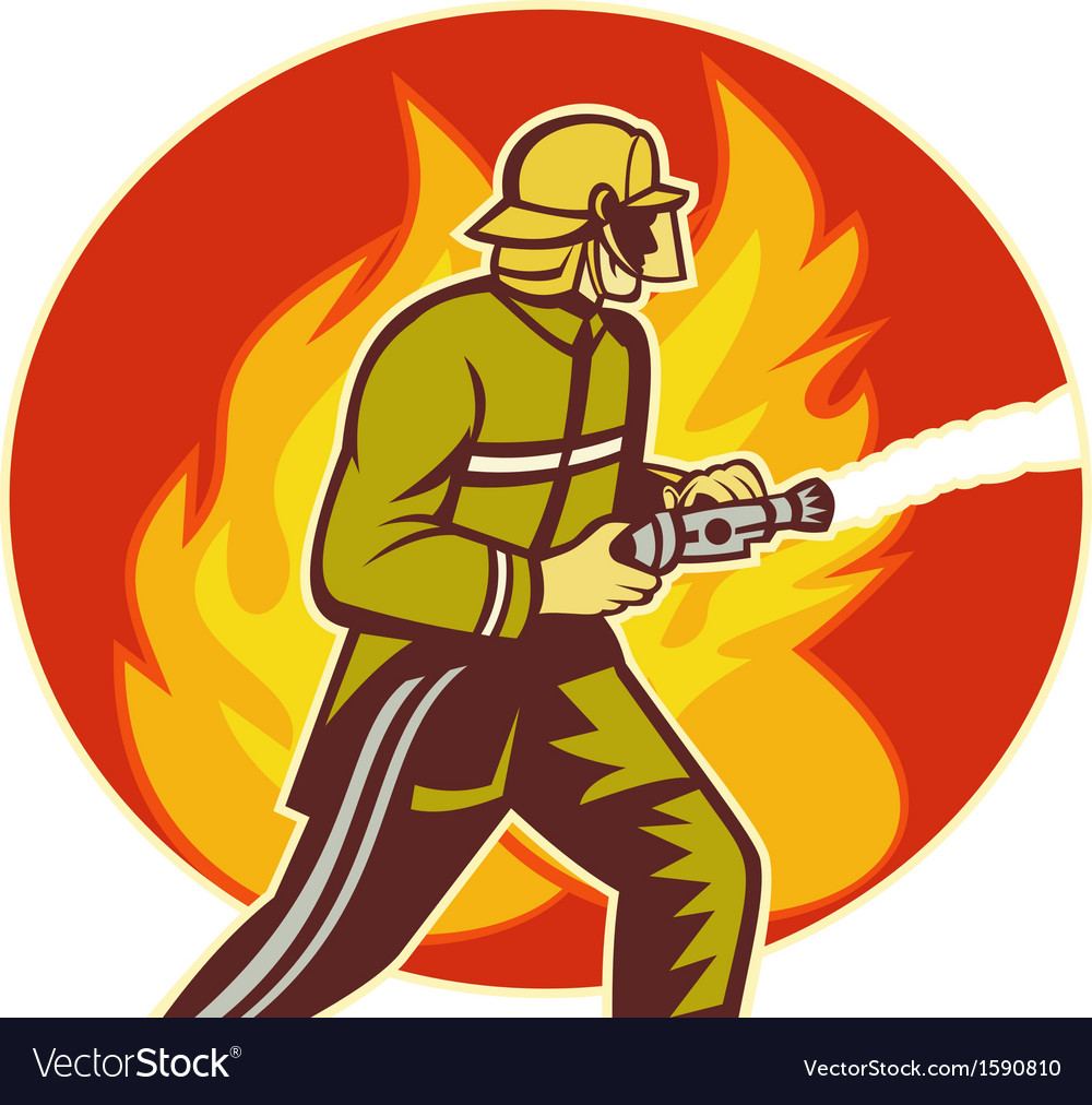 Firefighter fireman with water hose fighting fire vector | Price: 1 Credit (USD $1)