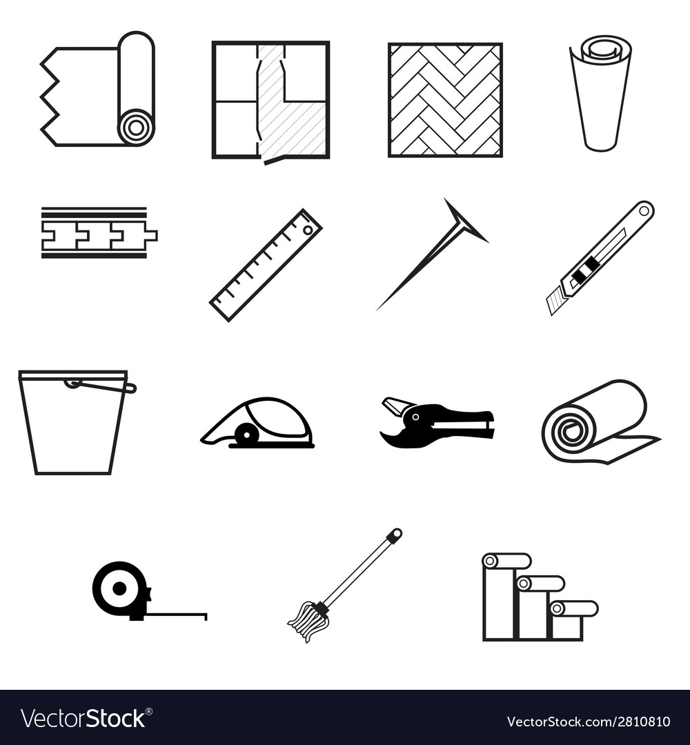 Icons for working with linoleum vector | Price: 1 Credit (USD $1)