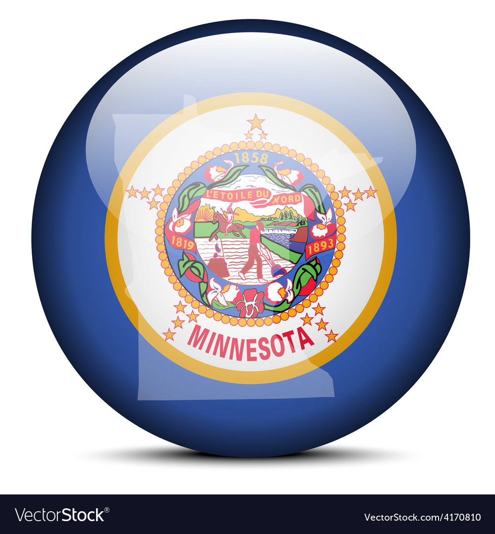 Map on flag button of usa minnesota state vector | Price: 1 Credit (USD $1)