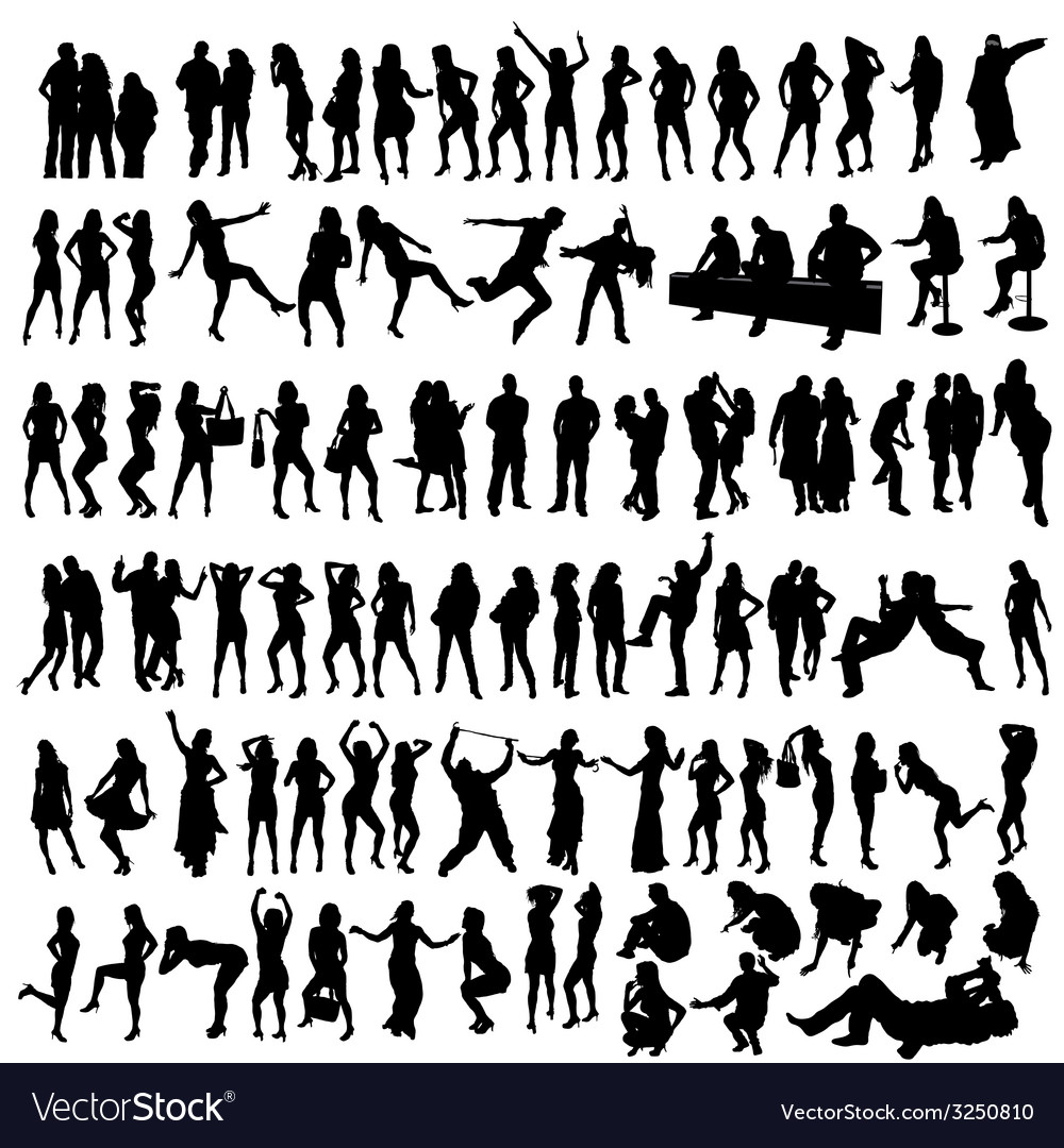 People black silhouette vector | Price: 1 Credit (USD $1)