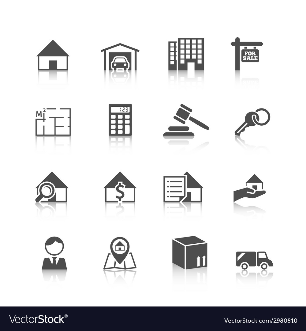 Real estate icons black vector | Price: 1 Credit (USD $1)