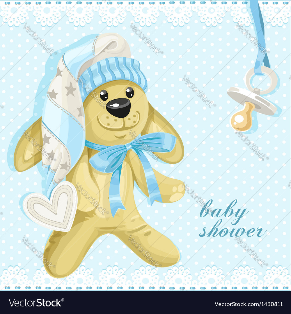 Baby shower card with blue soft rabbit vector | Price: 1 Credit (USD $1)