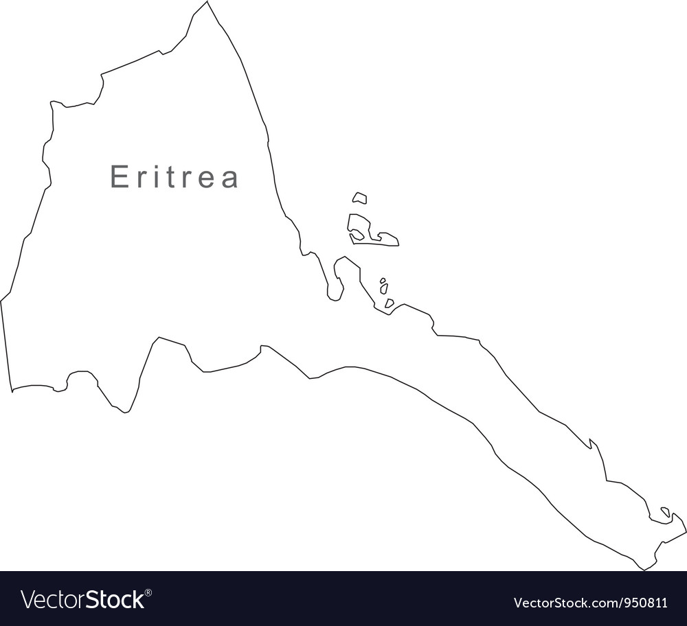 Black white eritrea outline map vector   Price: 1 Credit (USD $1)
