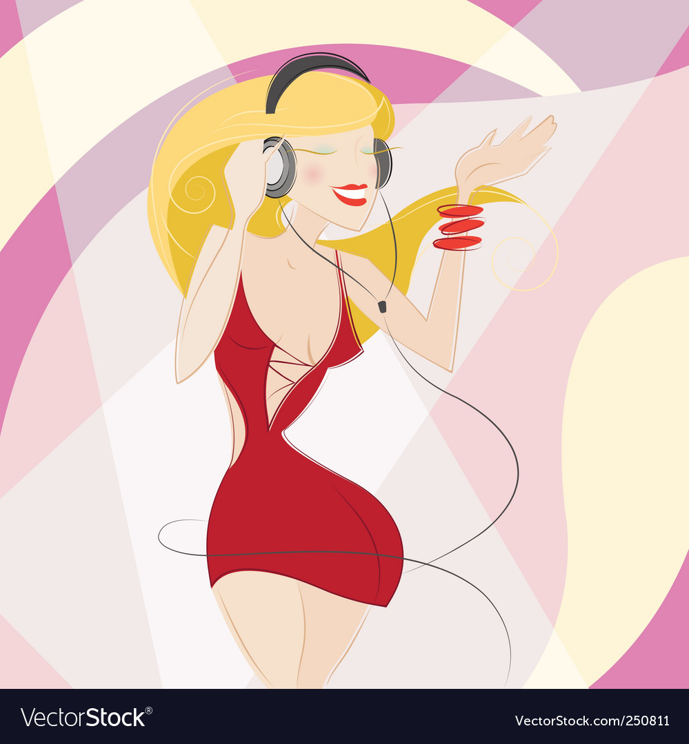 Girl with headphones vector | Price: 3 Credit (USD $3)
