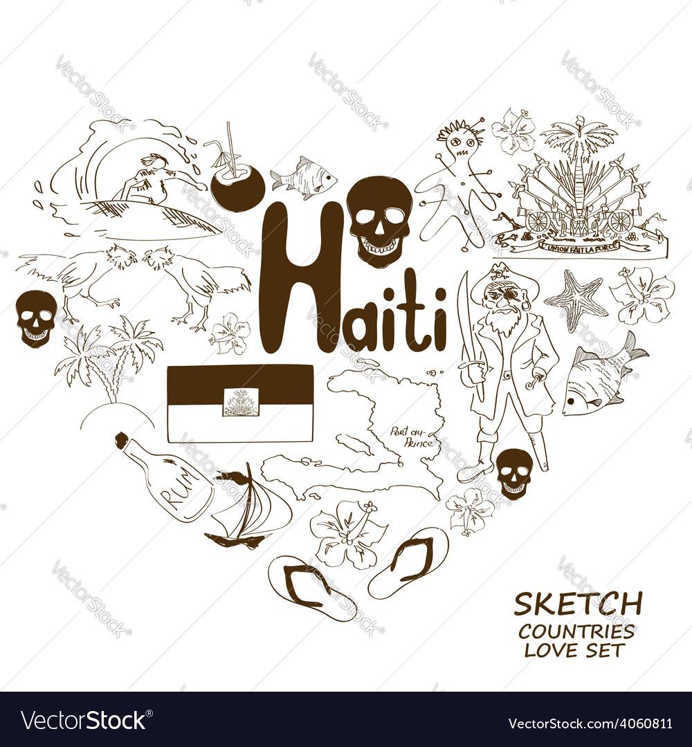 Haitian symbols in heart shape concept vector   Price: 1 Credit (USD $1)