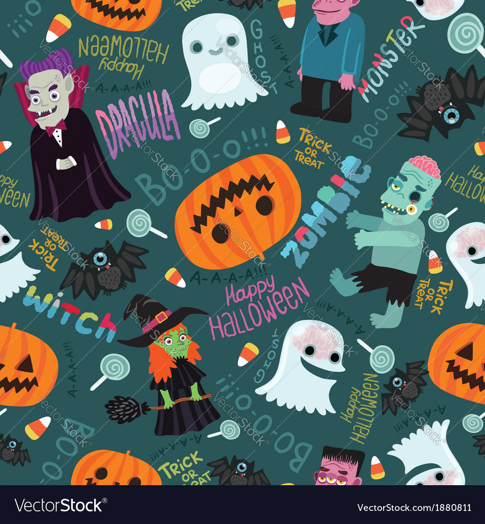 Happy halloween seamless pattern vector | Price: 1 Credit (USD $1)