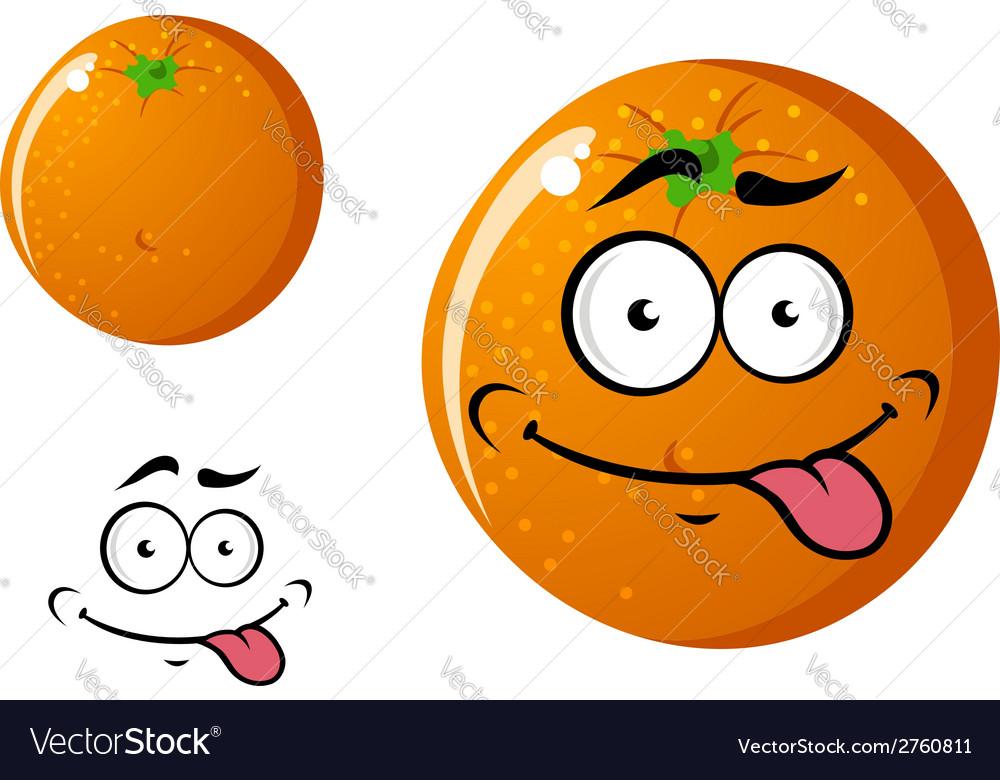 Happy smiling cartoon orange fruit vector | Price: 1 Credit (USD $1)