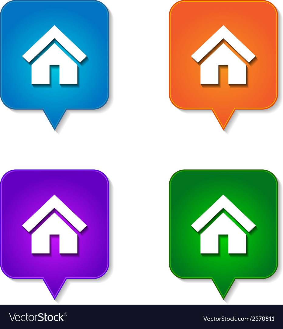 Home icon 4 options vector | Price: 1 Credit (USD $1)