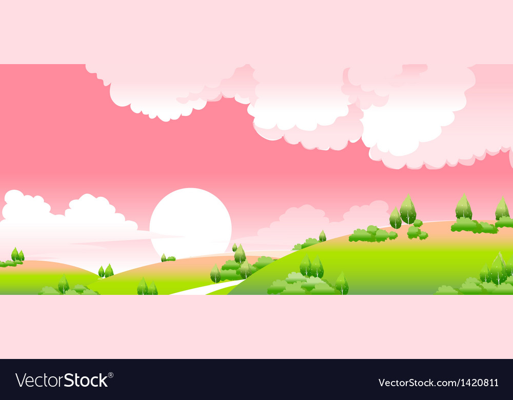Idyllic sunset landscape vector | Price: 1 Credit (USD $1)