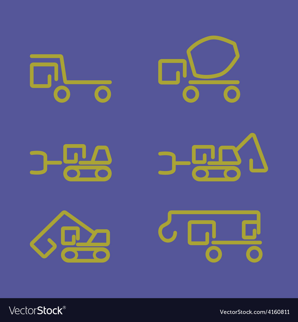 Linear construction truck icon set vector | Price: 1 Credit (USD $1)
