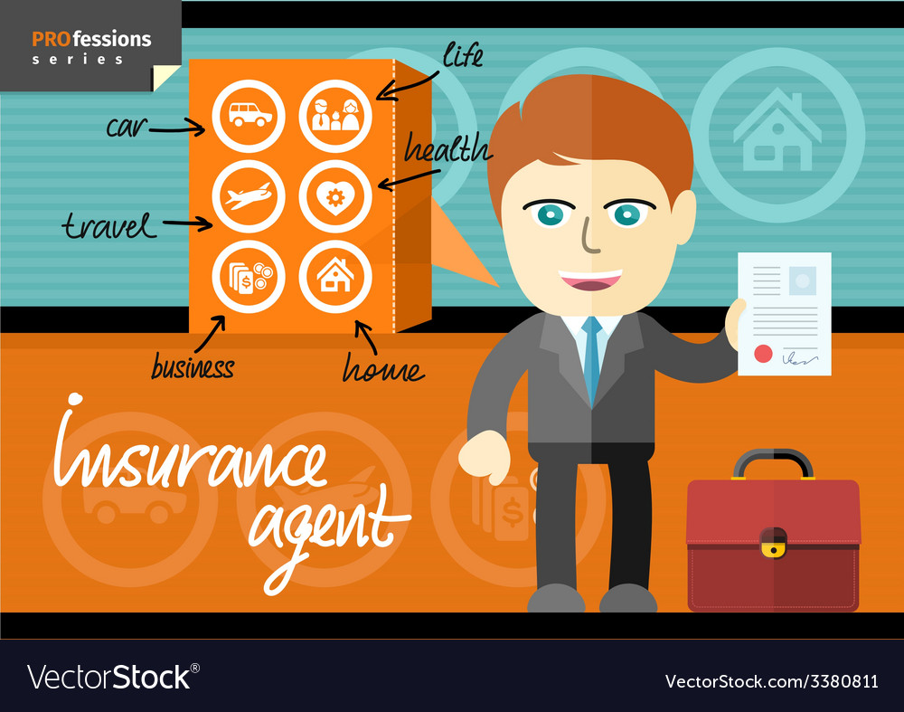 Male insurance agent presenting contract vector | Price: 1 Credit (USD $1)