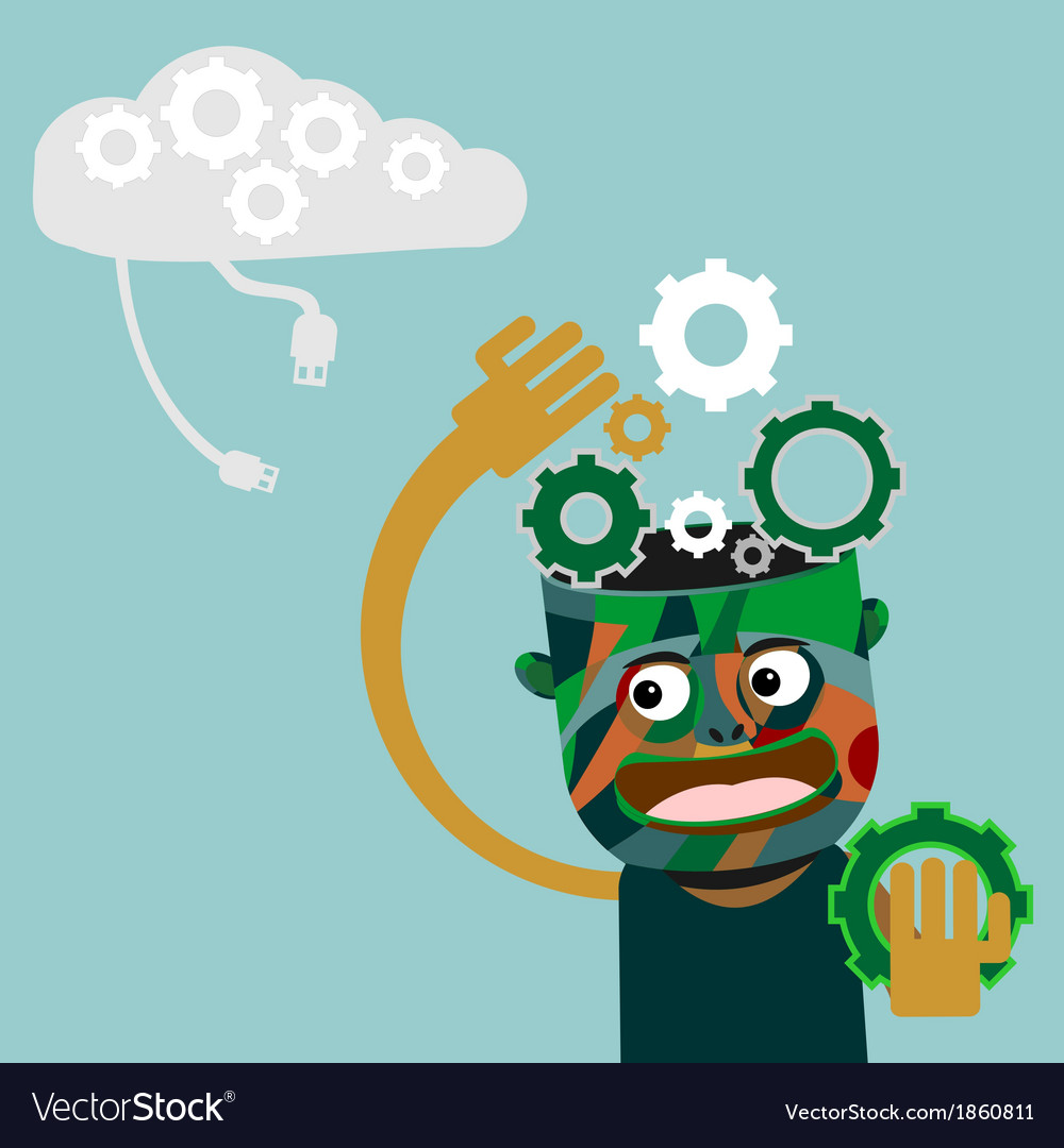 Man with gears on head innovation concept vector | Price: 1 Credit (USD $1)