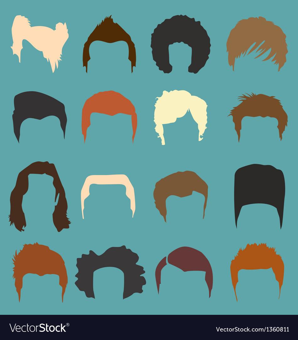 Mens hairdo styles in color vector | Price: 1 Credit (USD $1)