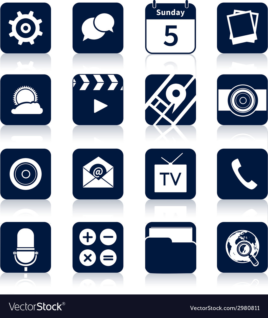 Mobile applications icons black vector | Price: 1 Credit (USD $1)