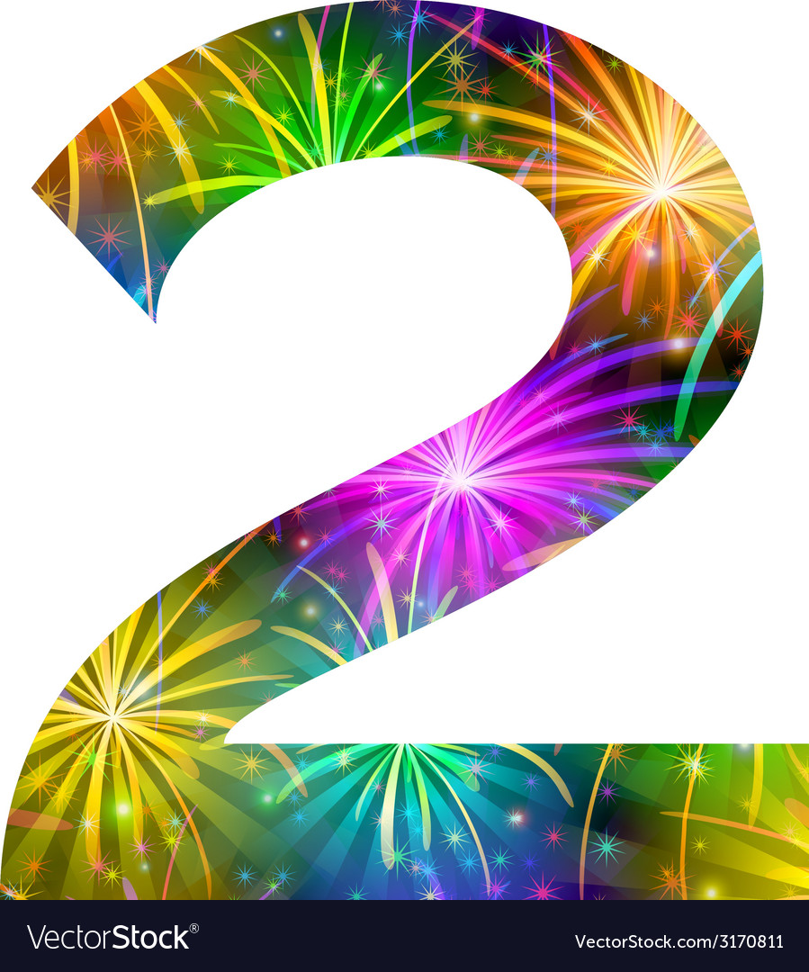 Number of colorful firework two vector | Price: 1 Credit (USD $1)