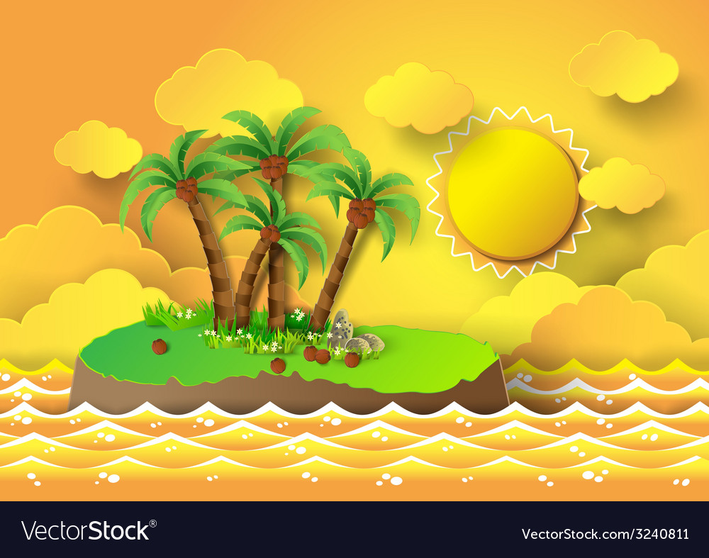 Palm with island and sunrise vector | Price: 3 Credit (USD $3)