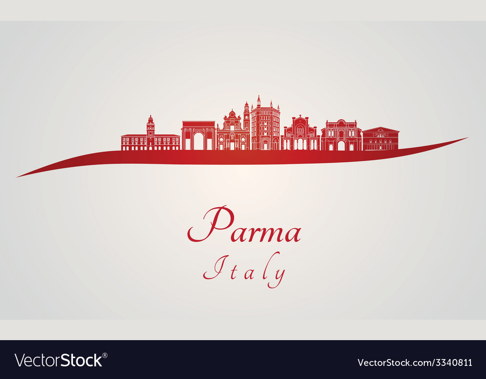 Parma skyline in red vector | Price: 1 Credit (USD $1)
