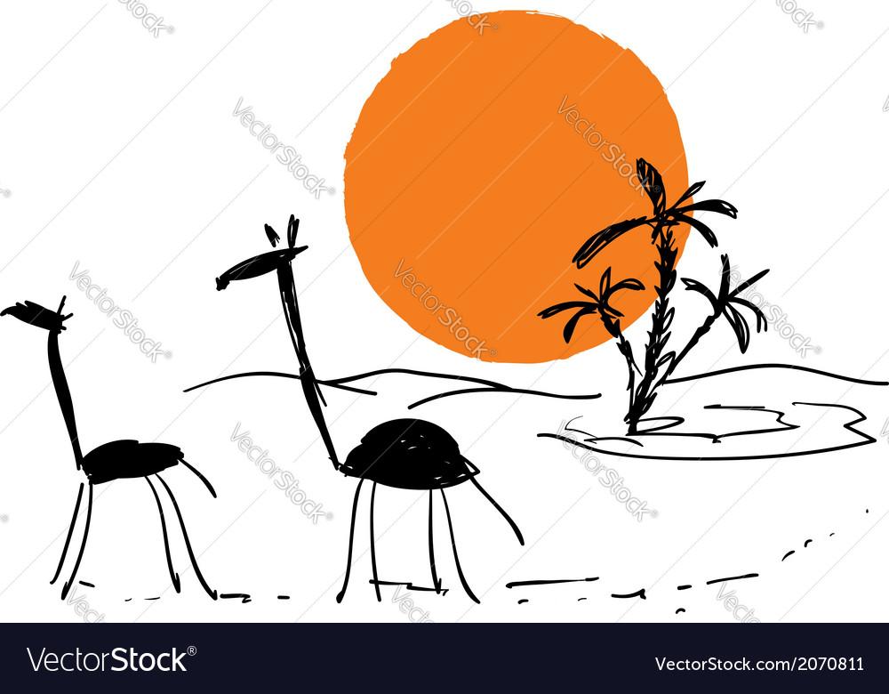 Scribbles african sketch vector | Price: 1 Credit (USD $1)