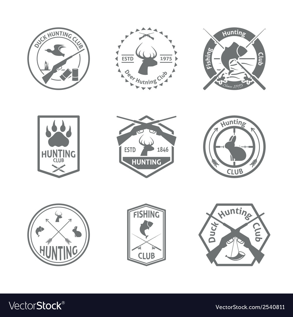Set of hunting label vector | Price: 1 Credit (USD $1)