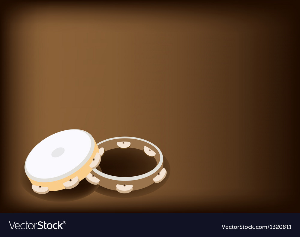 Three tambourine on dark brown background vector | Price: 1 Credit (USD $1)