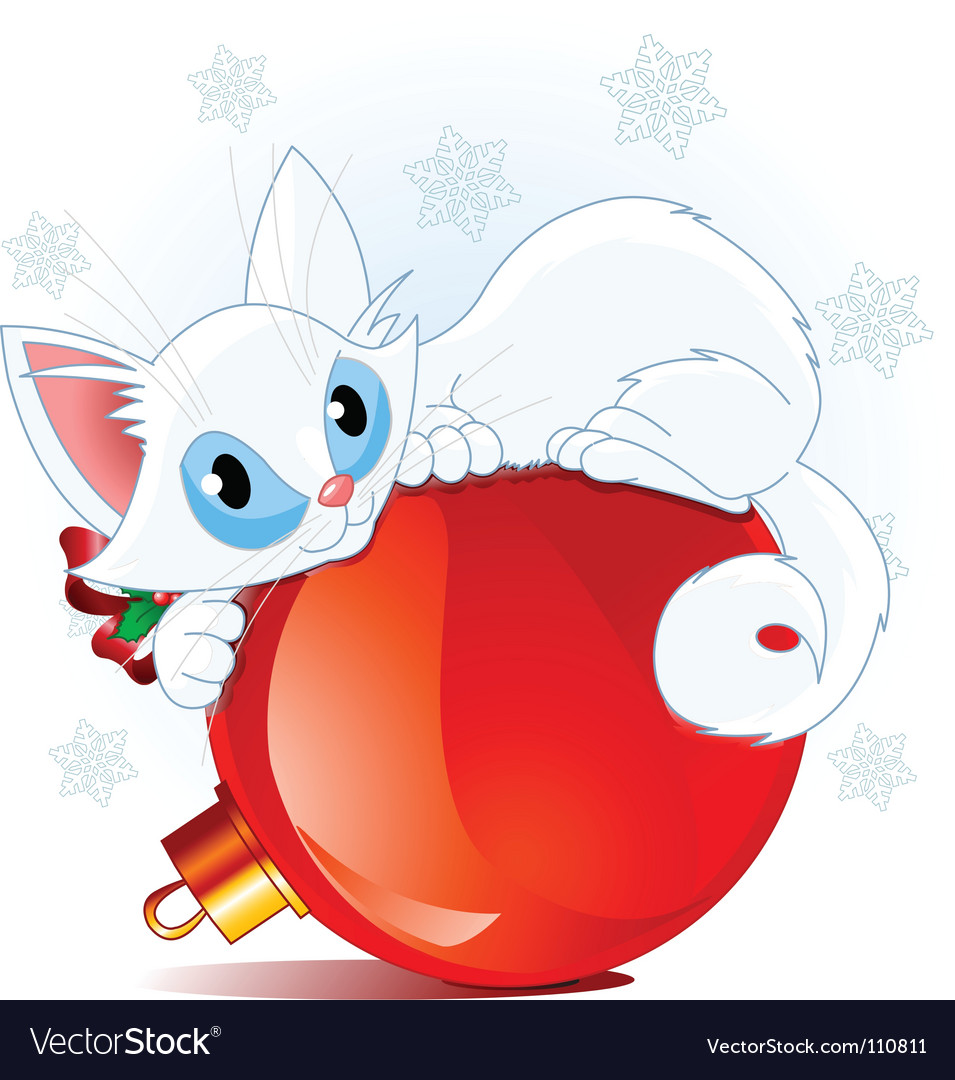 White christmas cat vector | Price: 3 Credit (USD $3)
