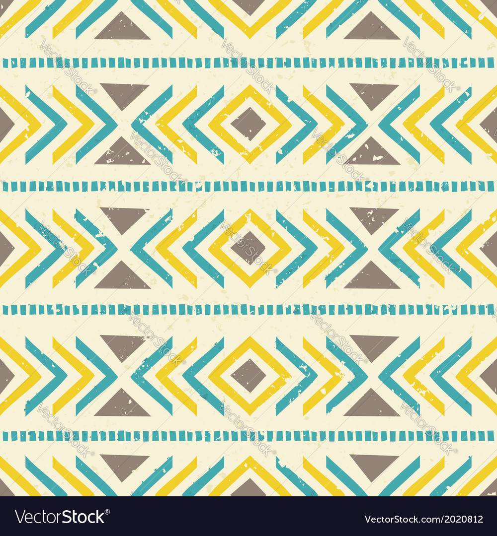 Aztec seamless pattern in brown yellow and blue vector | Price: 1 Credit (USD $1)