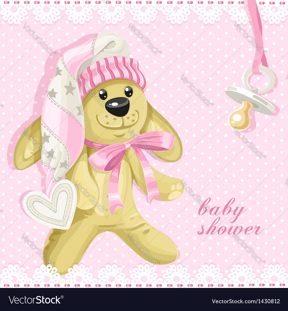 Baby shower card with pink soft toy rabbit vector   Price: 1 Credit (USD $1)